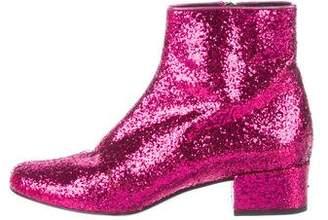 Saint Laurent Glitter Round-Toe Ankle Boots