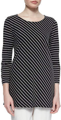 Caroline Rose Bias-Striped Knit Tunic