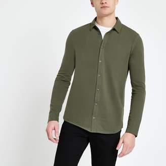 River Island Mens Khaki muscle fit button through polo shirt