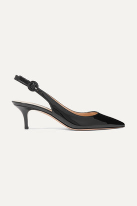 Gianvito Rossi Anna 55 Patent-leather Slingback Pumps - Black