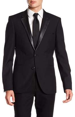 BOSS Andris Faux Leather Notch Collar Blazer