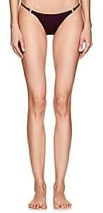 Solid & Striped WOMEN'S TILDA RING-EMBELLISHED BIKINI BOTTOM-BORDEAUX SIZE L