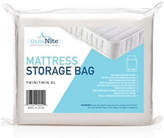 clear CalmNite Extra Thick Mattress Storage Bag for Moving and Storing – 4 MIL Plastic - Protects Bedding and Furniture from Moisture