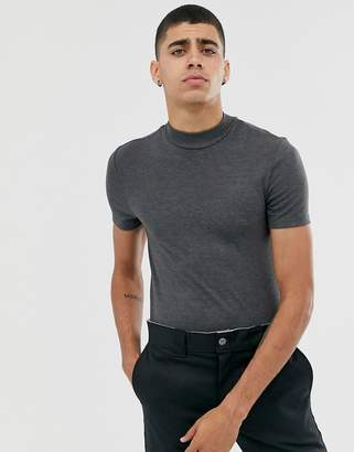 Asos Design DESIGN muscle fit turtle neck t-shirt in charcoal marl