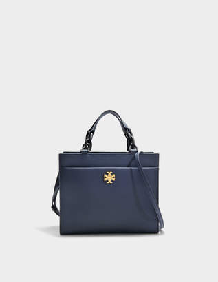 Tory Burch Kira Small Tote Bag in Royal Navy and Black Danubio Soft Leather