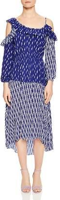 Sandro Kemila Mixed-Print Cold-Shoulder Midi Dress