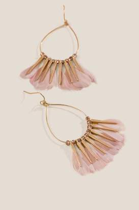 francesca's Lilly Feather Drop Earrings - Rose
