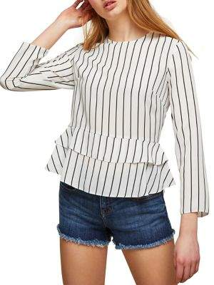 Miss Selfridge Striped Peplum Top