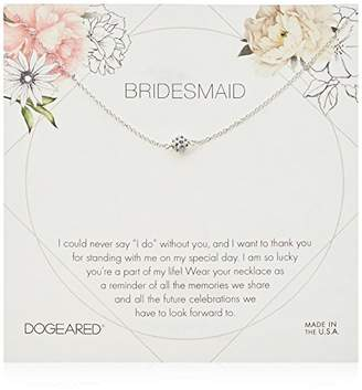 Dogeared Bridesmaid Flower Card Pave Sparkle Ball Chain Neckalce