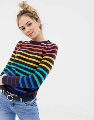 Brave Soul smartie sweater in rainbow stripe