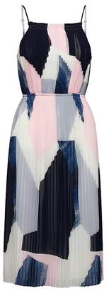 Banana Republic Petite Print Pleated Fit-and-Flare Dress