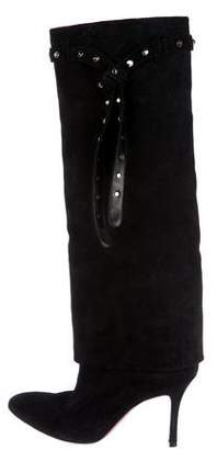 Valentino Suede Embellished Knee-High Boots