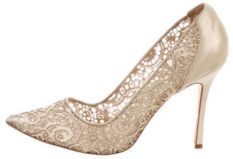 Manolo Blahnik Suede Lace Pointed-Toe Pumps $245 thestylecure.com