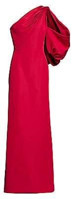 Zac Posen Women's One-Shoulder Puff-Sleeve Silk Faille Gown