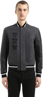 Versace Wool Varsity Jacket W/ Leather Sleeves