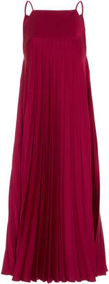Paule Ka Satin Pleated Midi Dress