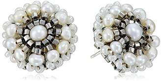 Miguel Ases Fresh Water Pearl and Sterling Silver Button Earrings