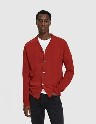 Comme des Garcons Small Black Heart Cardigan Sweater in Red