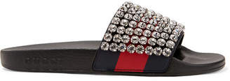 Gucci Pursuit Crystal-embellished Leather And Rubber Slides - Black