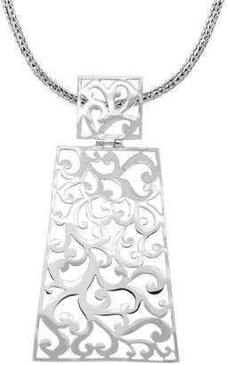 "Bali Signature Carving Sterling Silver Pendant Necklace, 18"" Length"