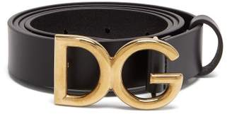 Dolce & Gabbana Monogram Buckle Leather Belt - Mens - Black