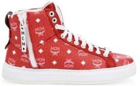MCM Men's Visetos High-Top Logo Sneakers - Red - Size 41 (8)