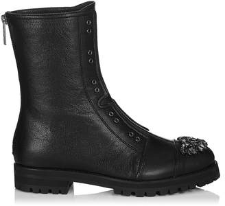 Jimmy Choo HATCHER Black Grainy Leather Combat Boots with Crystal Detail