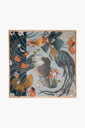Sabina Savage Denim Rooster's Dance Square Scarf