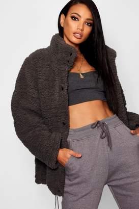 boohoo Oversized Fleece Puffer Jacket