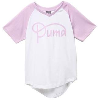 b9372f2a12a Puma V-Neck Raglan Sleeve Tee (Big Girls)