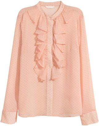 H&M Crinkled flounced blouse - Orange