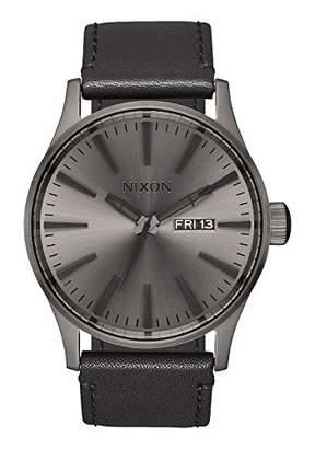 Nixon Sentry Leather A1051531-00. Gunmetal and Black Men's Watch (42mm Gunmetal Watch Face/ 23mm Black Leather Band)