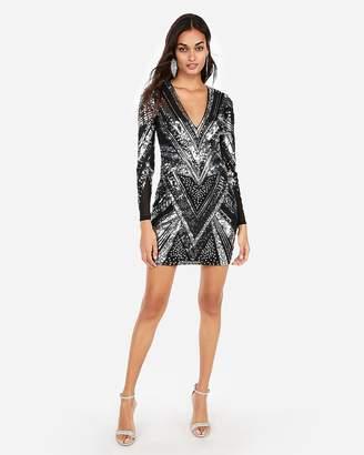 Express Patterned Sequin Mini Dress