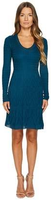 M Missoni Solid Knit Scoop Neck Long Sleeve Dress Women's Dress