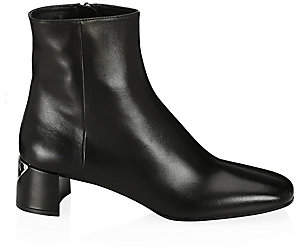 Prada Women's Triangle Logo Leather Ankle Boots