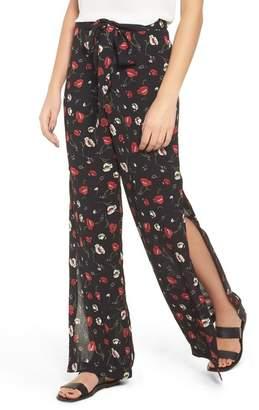 Lush Floral Print Wide Leg Pants