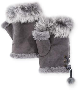 Adrienne Landau Fingerless Gloves with Fur Trim