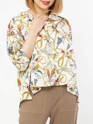 a.g.plus (エージープラス) - a.g.plus スカーフ柄袖ボリューム開襟ブラウス エージープラス シャツ/ブラウス