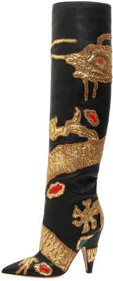 Valentino Dragon Embellished Over-The-Knee Boot