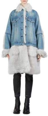 Sacai Denim& Faux-Fur Coat