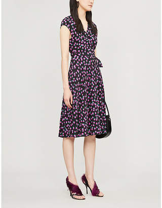 Diane von Furstenberg Swirling Berry-printed sleeveless crepe wrap dress