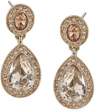 Carolee Earrings, Gold-Tone Pave Glass Teardrop Earrings