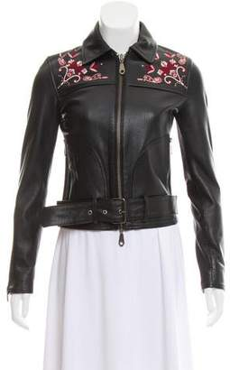 Rebecca Minkoff Embroidered Leather Jacket