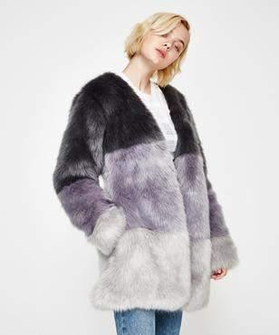 TWIIN Overcast Fur Coatgreyscale