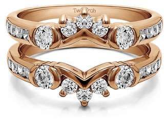 TwoBirch 10k Solid Gold Brilliant Moissanite Half Halo Classic Style Ring Guard (0.93ctw)