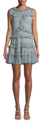 Rebecca Taylor Sleeveless Floral-Print Ruffle Mini Dress