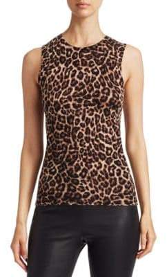 Saks Fifth Avenue COLLECTION Animal-Print Sleeveless Cashmere Top