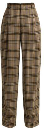 Joseph Riska Checked Wool Trousers - Womens - Grey Multi