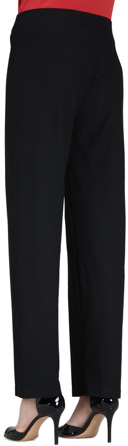 Eileen Fisher Washable-Crepe Straight-Leg Pants, Women's