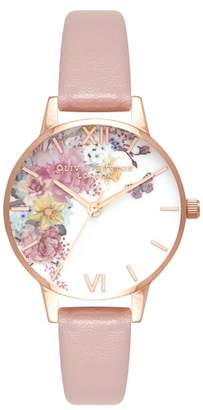 Olivia Burton Enchanted Garden Faux Leather Strap Watch, 30mm